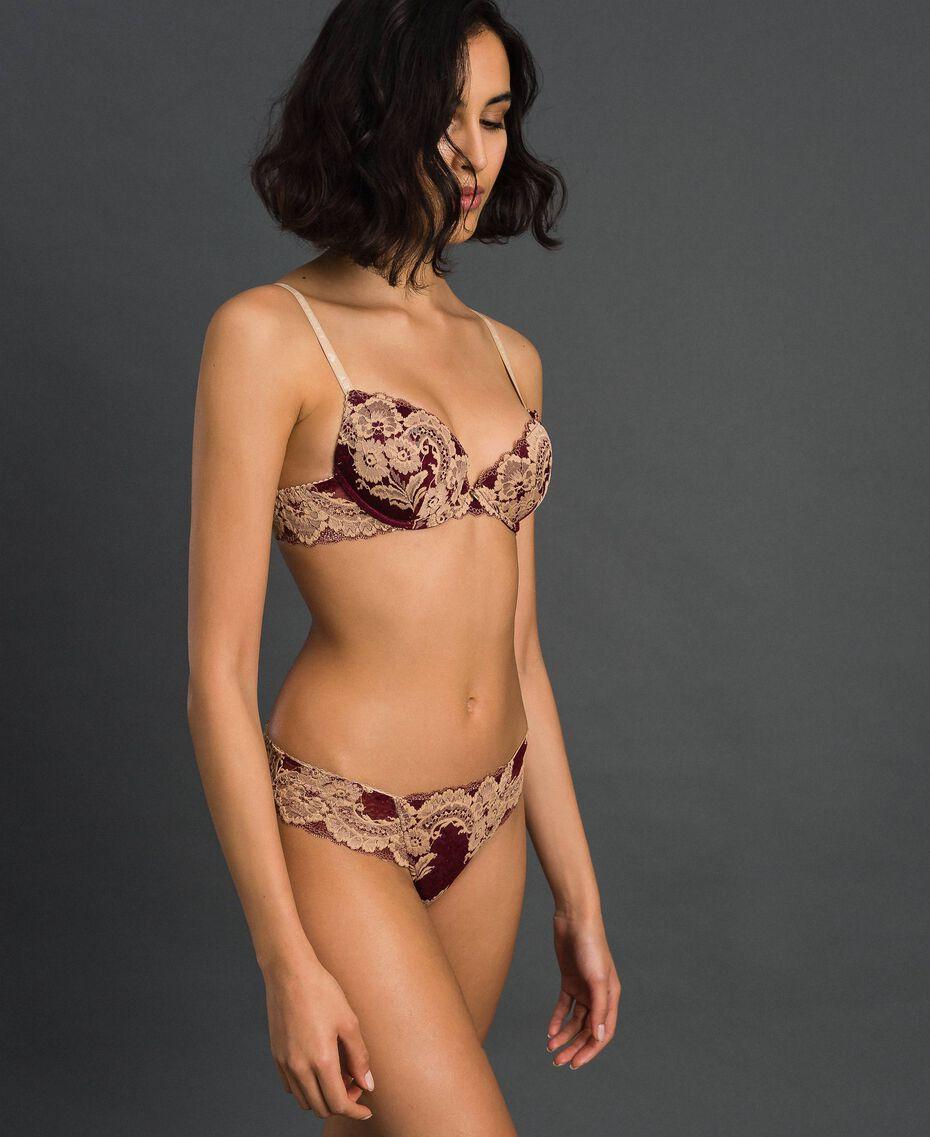 Soutien-gorge push-up en dentelle bicolore Rouge Violet / Beige Foncé Femme 192LL6D44-02