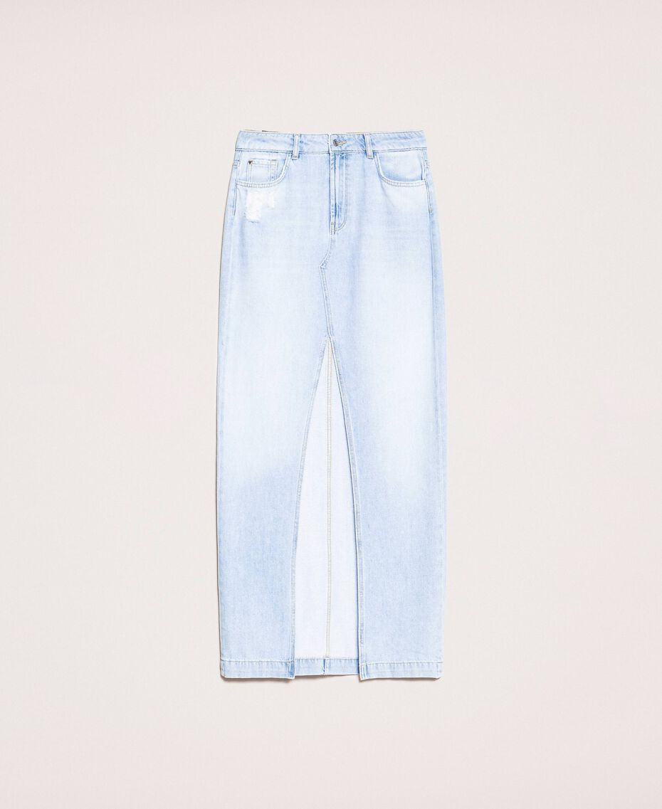 Jupe longue en jean Bleu Denim Femme 201MP2282-0S