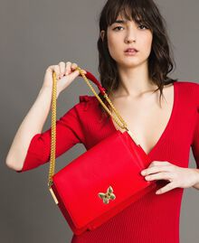 """Large leather shoulder Bea bag """"Ruby Butterfly"""" Red Woman 191TA7140-0S"""
