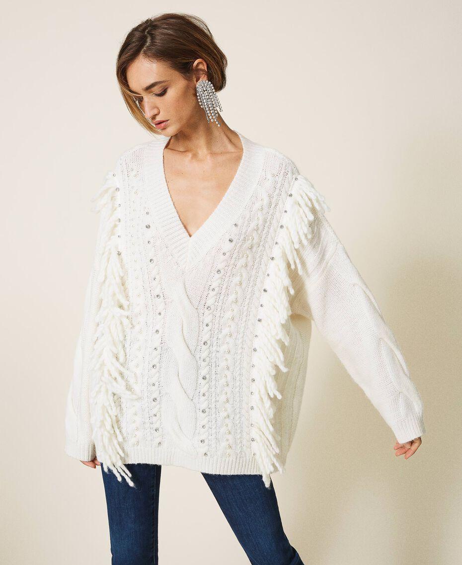 Maxijersey de lana y alpaca con bordado Blanco Nata Mujer 202TT3355-02