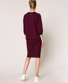 Striped sweatshirt with sequin embroidery Crimson Red/ Midnight Blue Stripes Woman 201ST2190-03