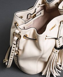 Faux leather bucket bag with studs White Snow Woman 192TO8163-05