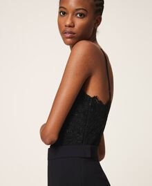 Crêpe de Chine and lace jumpsuit Black Woman 202TT2282-03