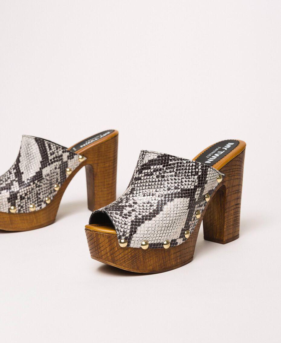 Animal print faux leather sabots White Python Print / Black Woman 201MCT01J-01