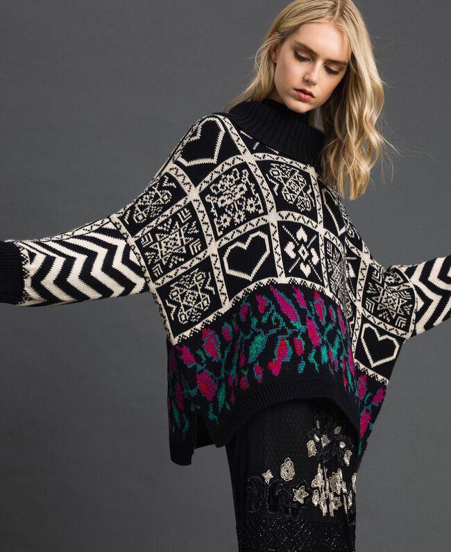 Pull jacquard en laine mélangée Jacquard Blanc «Neige»/ Noir Femme 192TT3160-01