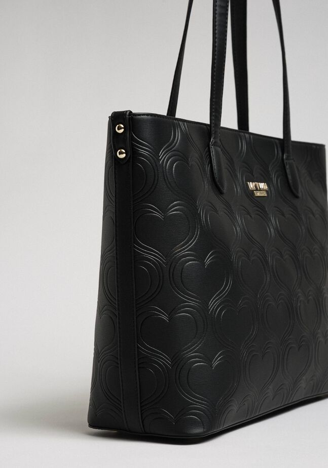 Faux leather heart print shopping bag