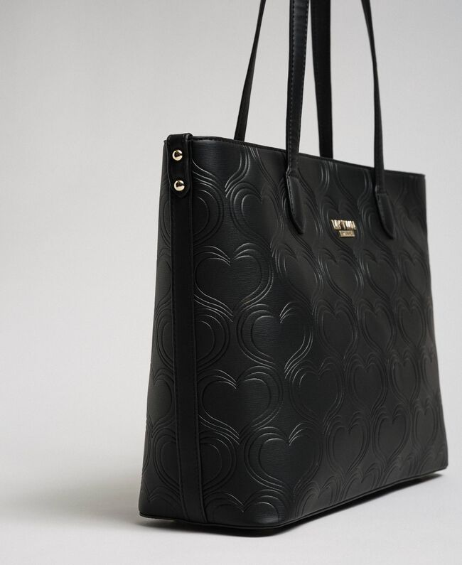 Faux leather heart print shopping bag Black Woman 192MA7010-01