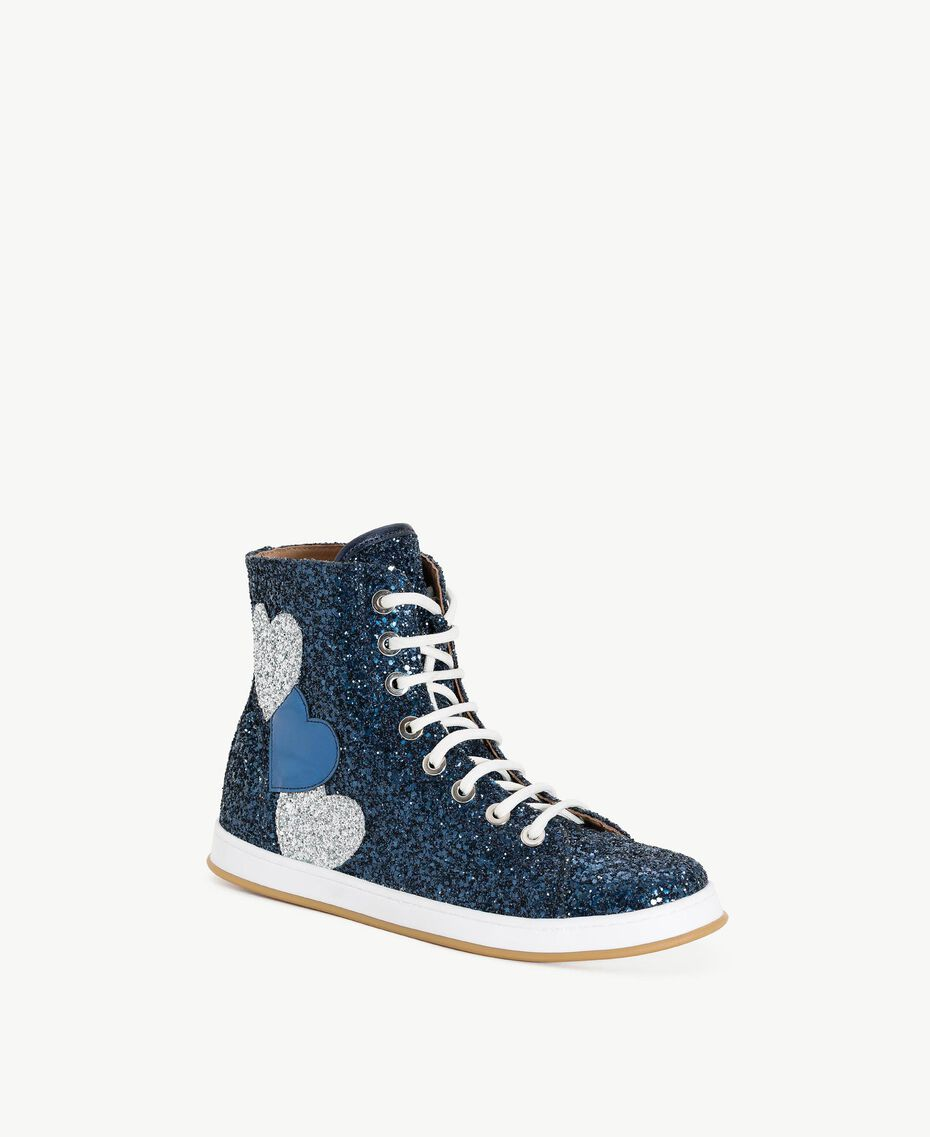 TWINSET Glitter sneakers Dark Blue Woman CS8PM7-02