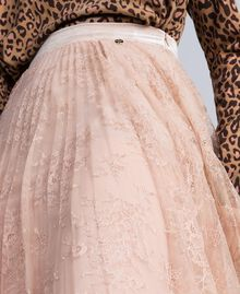 "Pleated lace skirt with lurex ""Nude"" Beige Woman SA82HH-04"