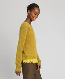 "Mohair jumper and feathered top ""Wasabi"" Yellow Woman 192TT3275-02"