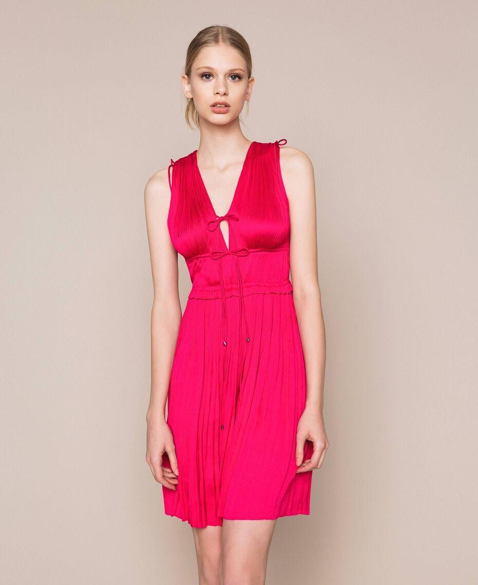 Pleated satin dress Wild Rose Woman 201MT2141-01
