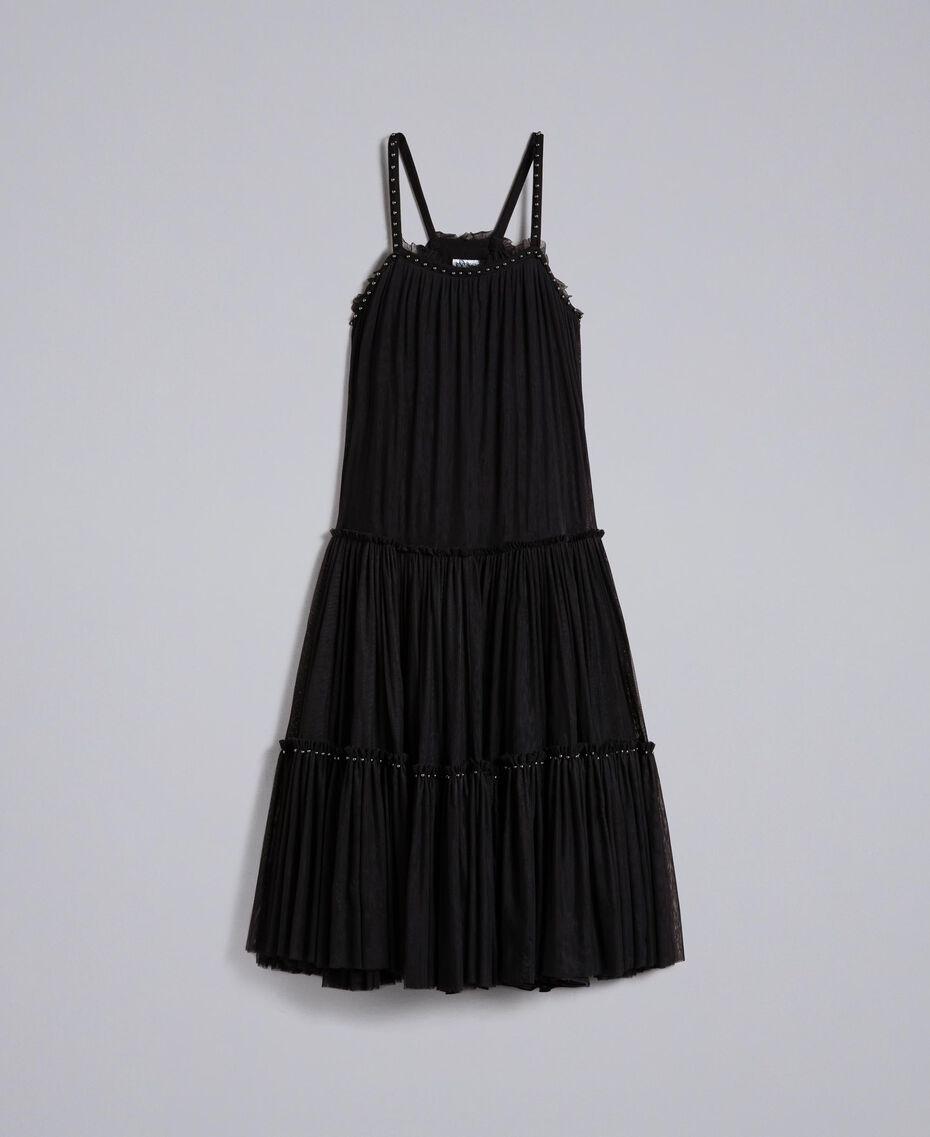 Kleid aus Tüll mit Volants Schwarz Frau JA82MA-0S