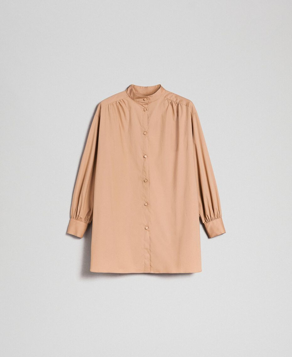 Long poplin shirt with gatherings White Woman 192ST2071-0S