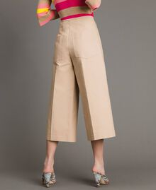 Cropped technical cotton trousers Nougat Beige Woman 191TP2184-04