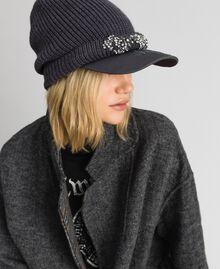 Basco in maglia con visiera ricamata Grigio Mélange Medio Donna 192MA4352-0S