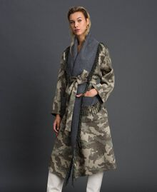 Camouflage wool cloth coat with fringes Camouflage Jacquard Woman 192TT2502-04