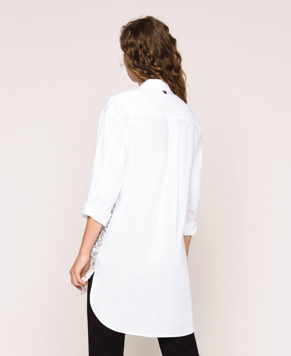 Поплиновая рубашка с кружевом Белый женщина 201TP2040-03