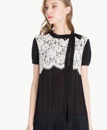 Langes Kleid aus Seide Zweifarbig Schwarz / Ecru Frau PS82Y3-04