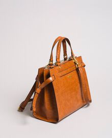 Crocodile print shopper Leather Brown Woman 191TA7122-01