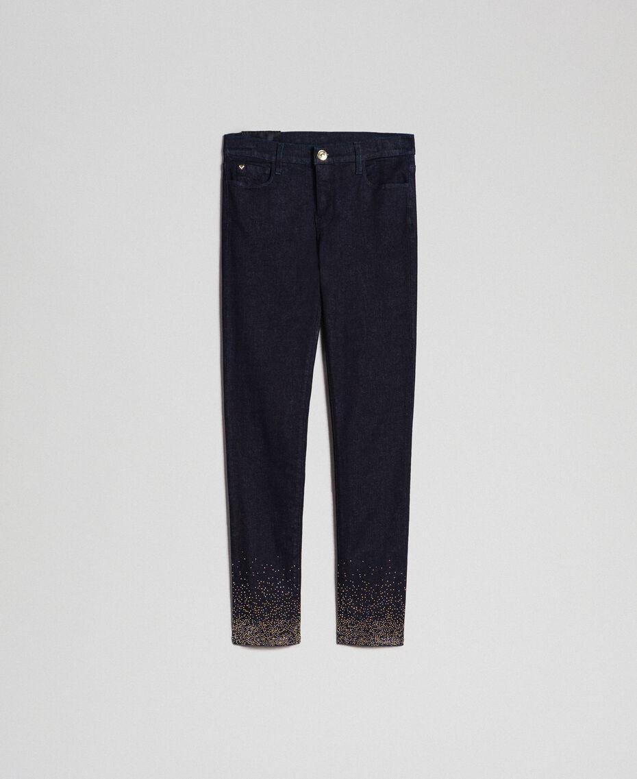Jean skinny avec cristaux et clous Bleu Denim Femme 192MT2222-0S