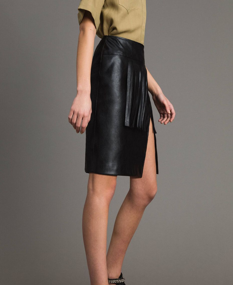 Faux leather mini skirt with fringes Black Woman 191TT2321-02