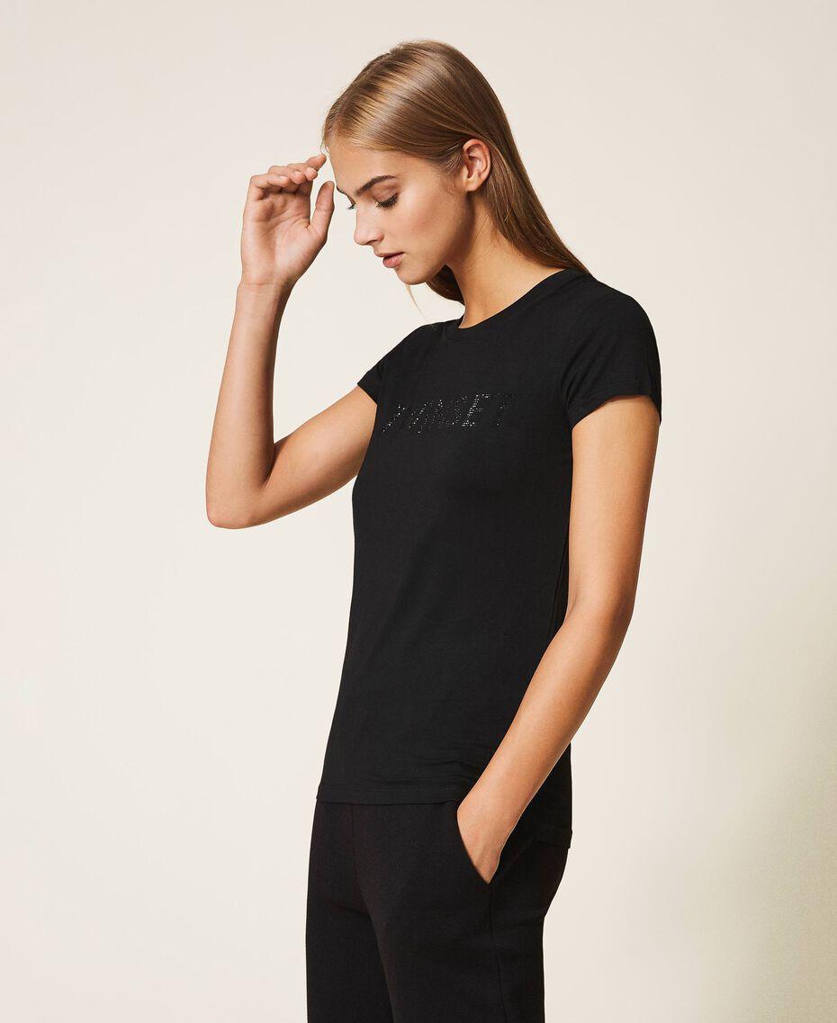 T-shirt avec logo strassé Noir Femme 202LL2CRR-02