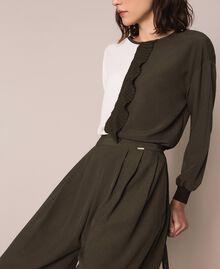 Crêpe de Chine wide trousers Elm Green Woman 201ST2016-04