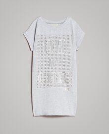 Minikleid aus Stretch-Fleece mit Strass Hellgrau-Mélange Kind 191GJ2463-01