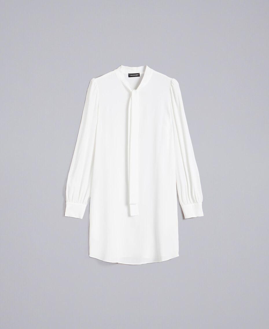 Tunikakleid aus Seidenmischung Weiß Schnee Frau PA828D-0S