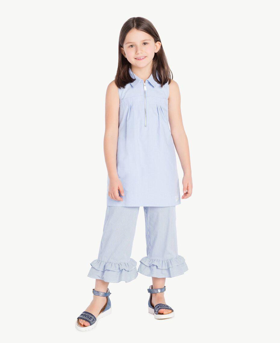 Kleid mit Raffung Jacquard Unendlichkeits-Azur Kind GS82QA-02
