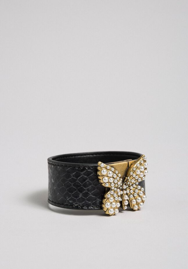 Leather bracelet with butterfly