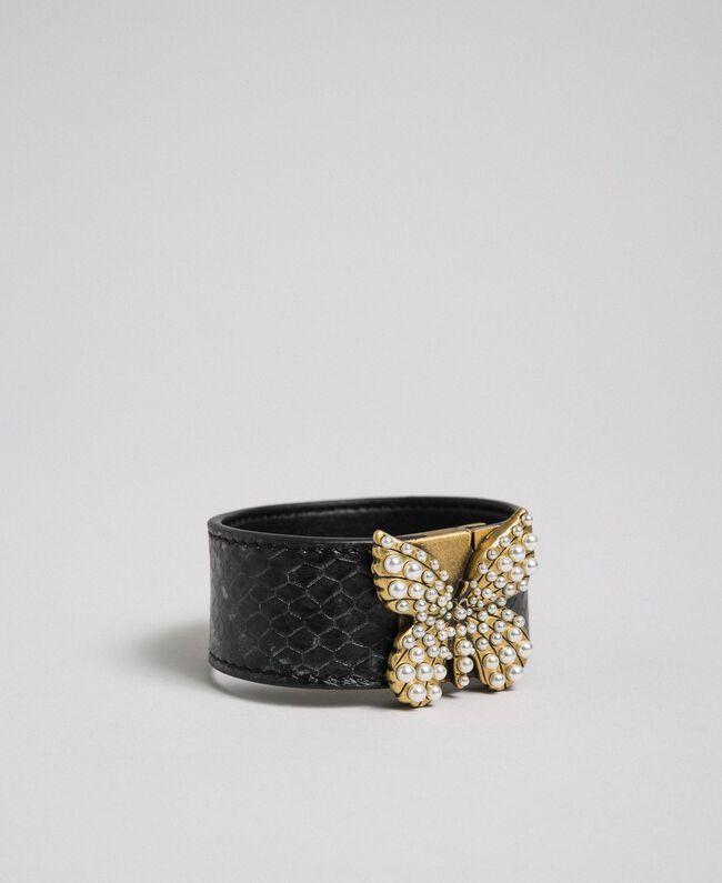 Bracelet en cuir avec papillon Imprimé Python Gris «Anthracite» Femme 192TO5303-01