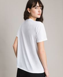 Butterfly embroidery and fringe T-shirt White Woman 191TP2600-04