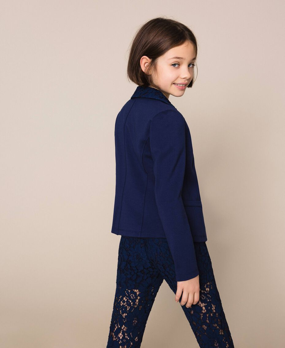 Macramé lace blazer Night Blue Child 201GJ2QL1-03