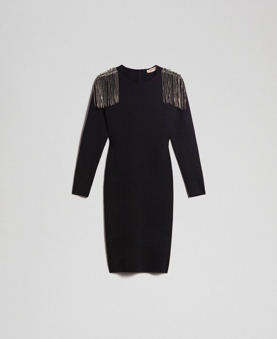 Sheath dress with rhinestone chains Black Woman 192TT3076-0S