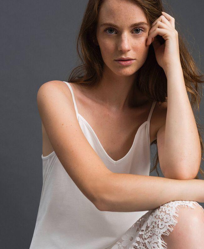 Robe nuisette avec dentelle Blanc Femme 192ST2195-04