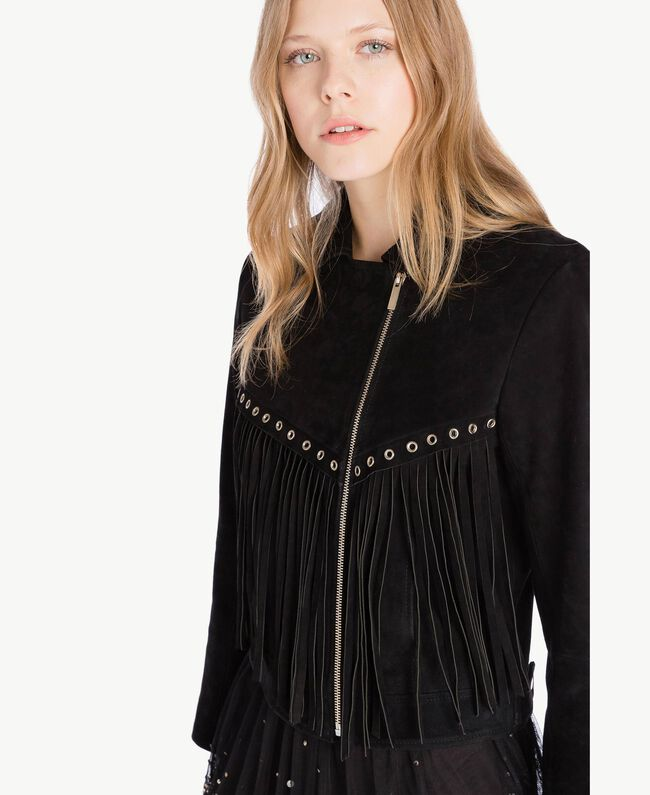 Suede biker jacket Black Woman TS82AW-04