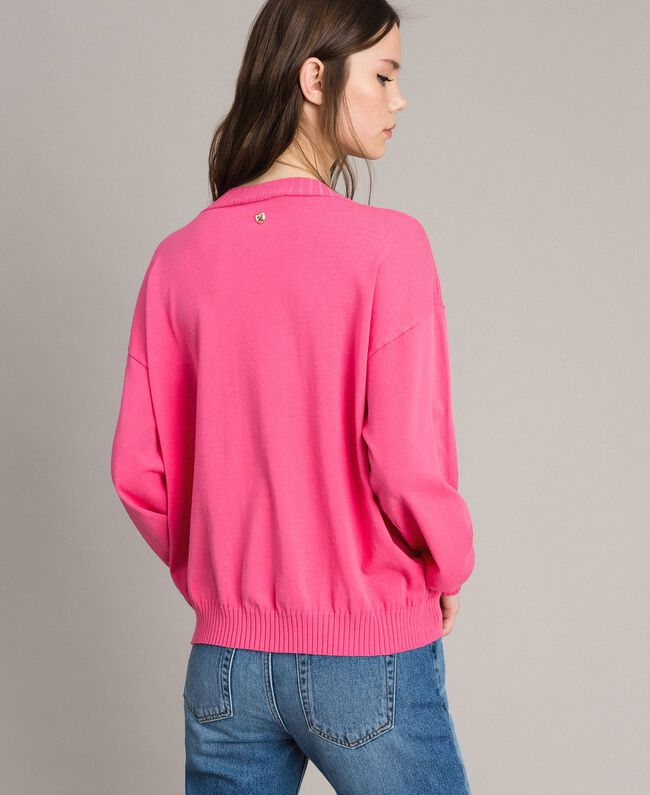 Cardigan with grosgrain brooch Pink Camellia Woman 191MP3054-03