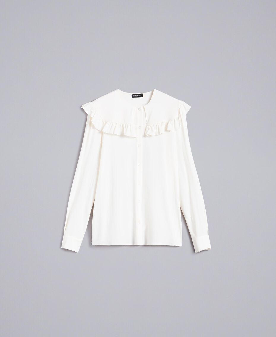 Chemise en soie mélangée avec ruches Blanc Neige Femme TA823E-0S