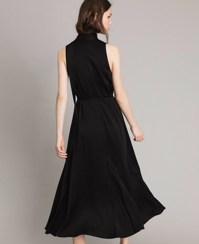 Long dress with bow and slit Black Woman 191TP269A-04