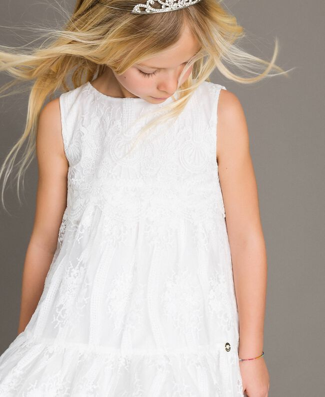Embroidered organza and lace dress White Child 191GJ2QB1-04