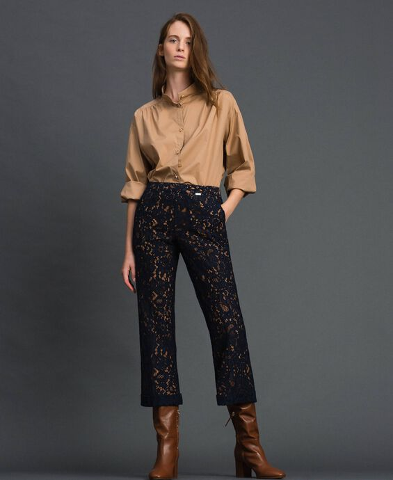Macramé lace flared trousers