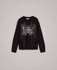 Butterfly embroidery and fringe sweatshirt Black Woman 191TP2590-0S