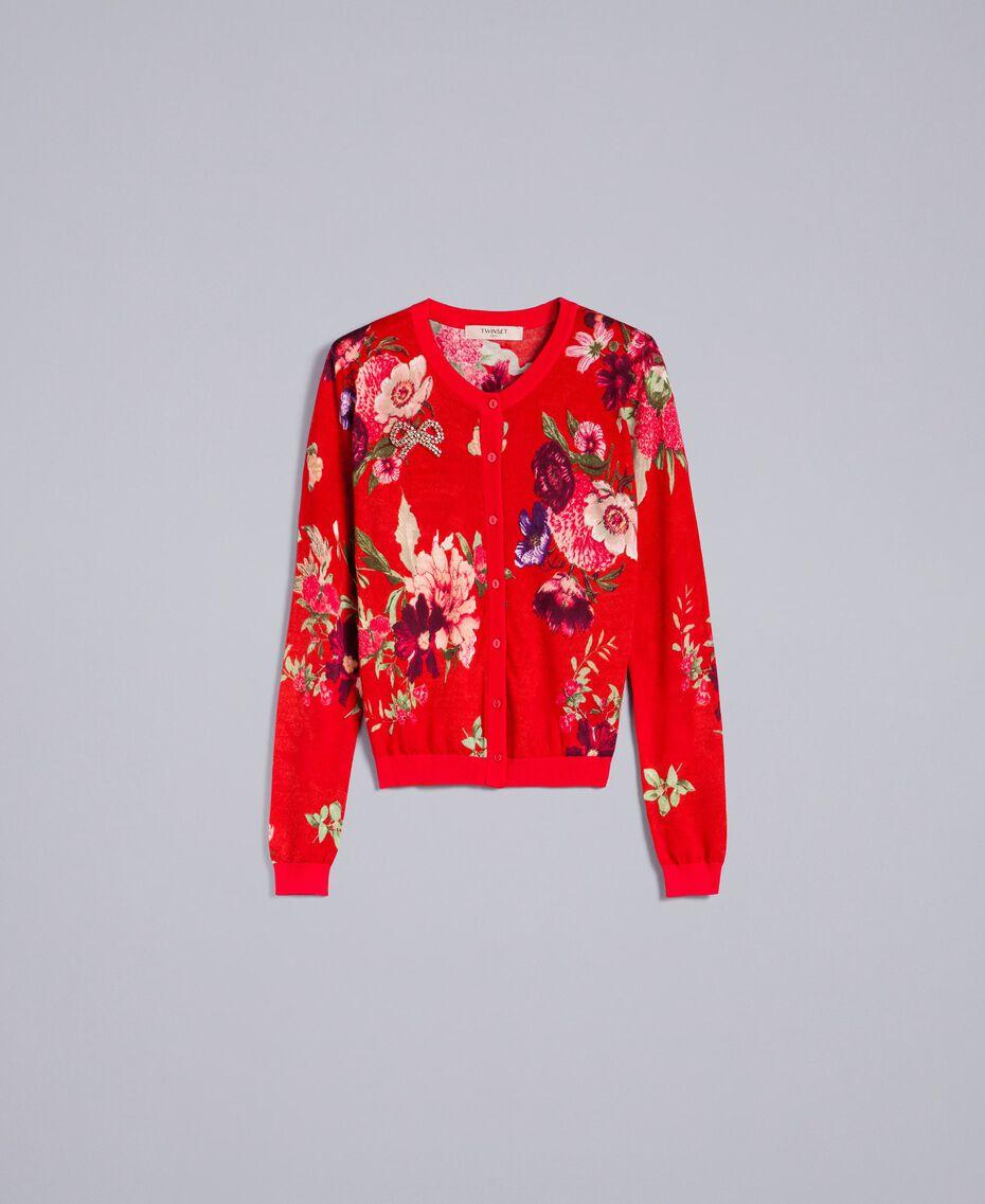 Printed wool mandarin collar top Red Garden Print Woman PA83KD-0S