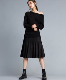 Knitted lurex pleated mid-length skirt Black Lurex Woman PA83CD-01
