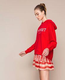 Maxi sweat avec logo brodé Rouge «Lave» Femme 201TP2080-02
