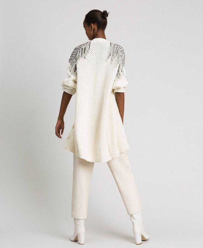 Maxi cardigan avec franges et sequins Blanc Neige Femme 192TT3230-03