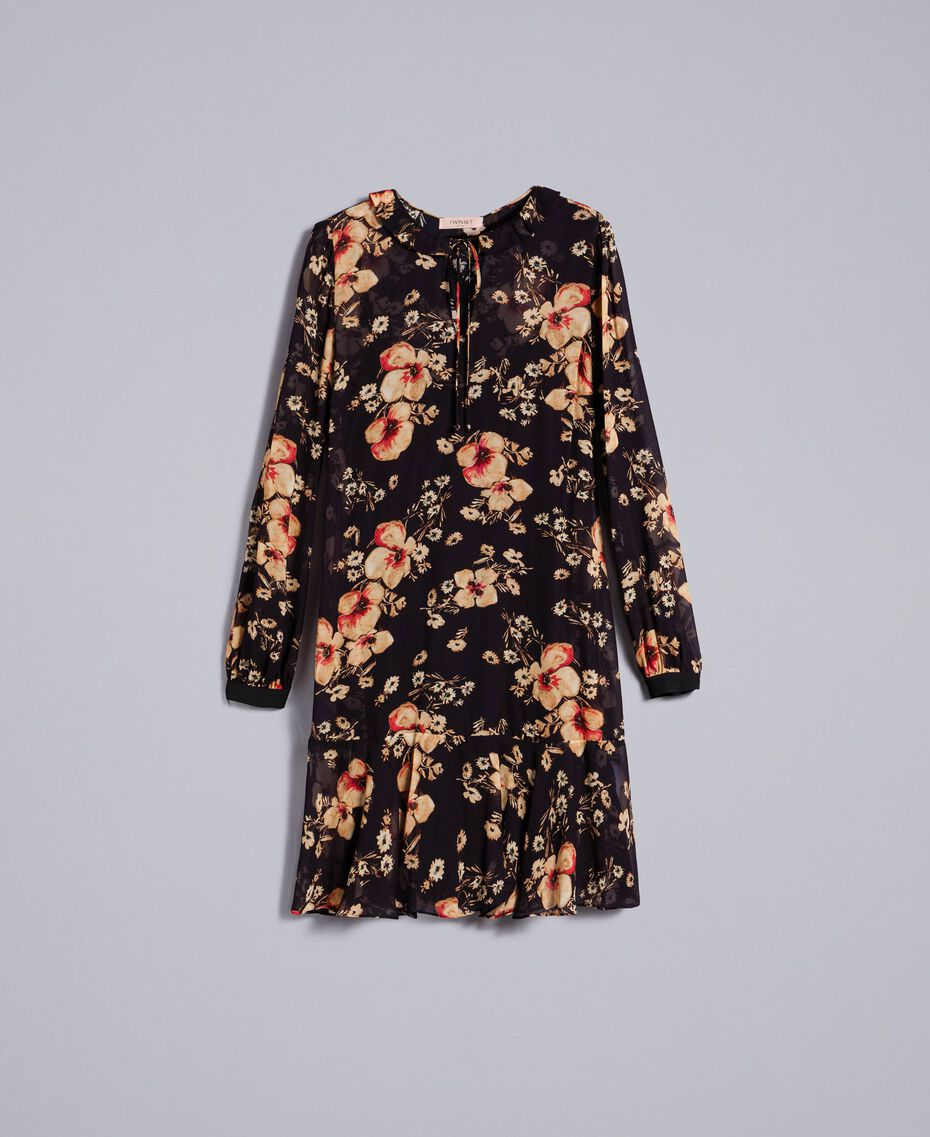 Floral print georgette dress All Over Bouquet Print Woman TA825F-0S