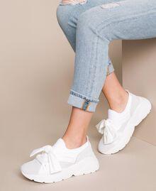 Textilsneakers mit Knoten Weiß Frau 201TCT110-0S