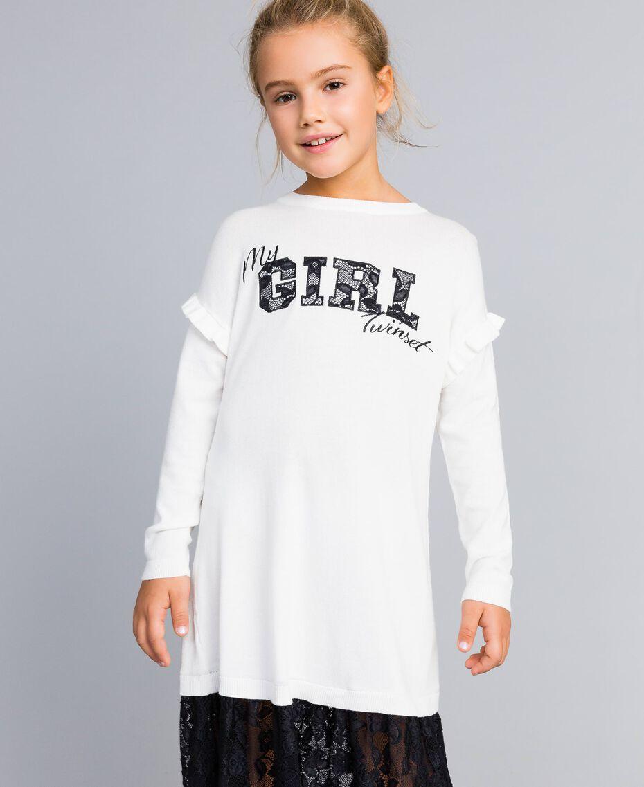 Kleid aus Viskose mit Spitze Zweifarbig Off White / Schwarz Kind GA83BN-02